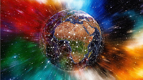 multicoloured illustration: world map, with superimposed networks